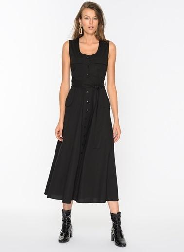 Agenda Düğme Detaylı Elbise Siyah